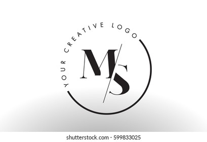 MS Letter Logo Design with Creative Intersected and Cutted Serif Font.