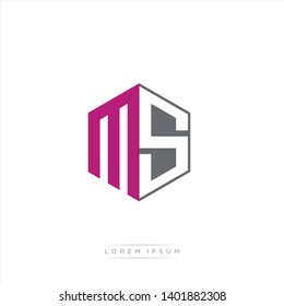 MS Logo Initial Monogram Negative Space Design Template With Dark purple and Grey color