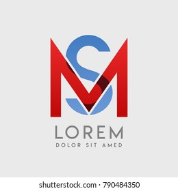 """MS logo letters with """"blue and red"""" gradation"""