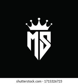 MS logo monogram emblem style with crown shape design template