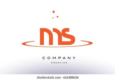 MS M S creative orange swoosh dots alphabet company letter logo design vector icon template