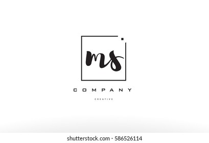 ms m s hand writing written black white alphabet company letter logo square background small lowercase design creative vector icon template