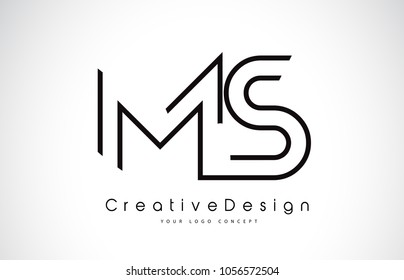 MS M S Letter Logo Design in Black Colors. Creative Modern Letters Vector Icon Logo Illustration.