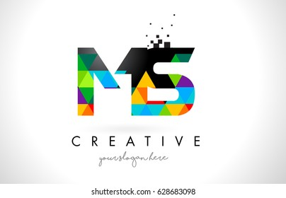 MS M S Letter Logo with Colorful Vivid Triangles Texture Design Vector Illustration.