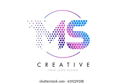 MS M S Pink Magenta Dotted Bubble Letter Logo Design. Dots Lettering Vector Illustration