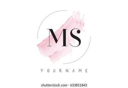 MS M S Watercolor Letter Logo Design with Circular Shape and Pastel Pink Brush.
