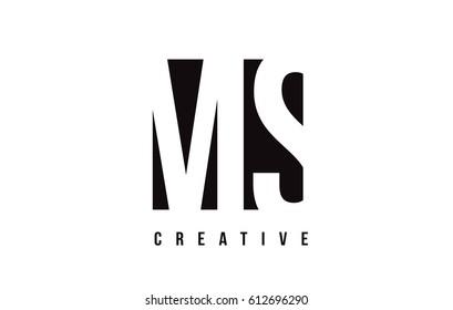 MS M S White Letter Logo Design with Black Square Vector Illustration Template.