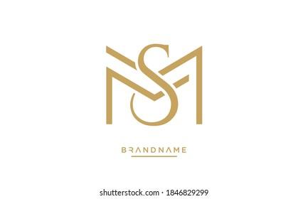 MS, SM Abstract Letters Logo Emblem Monogram