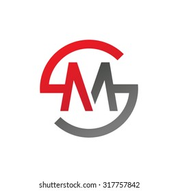 MS SM initial company circle S logo red