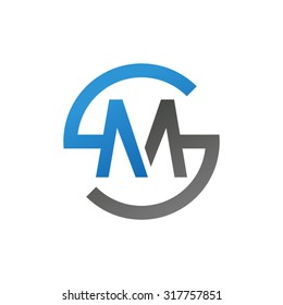 MS SM initial company circle S logo blue