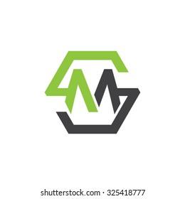 MS SM initial logo, hexagon S shape logo green