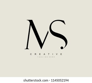 MS SM Letter Linked Luxury Premium Logo