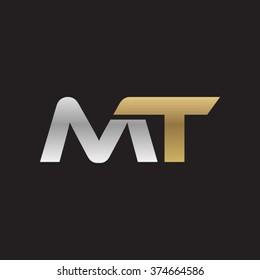 MT company linked letter logo golden silver black background