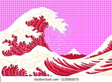 Mt. Fuji and big wave. Japanese ukiyoe.