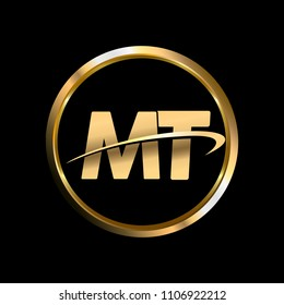 MT initial circle company logo gold black background