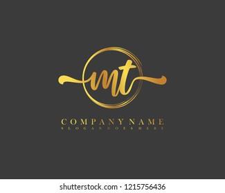 MT initial handwriting logo circle template vector