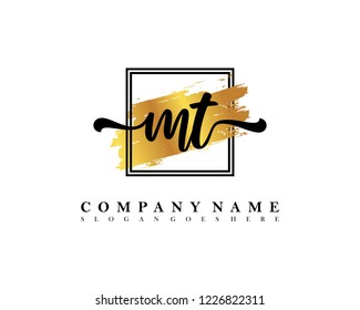 MT Initial handwriting logo concept