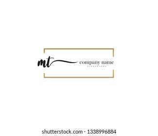 MT Initial handwriting logo vector. Hand lettering for designs.
