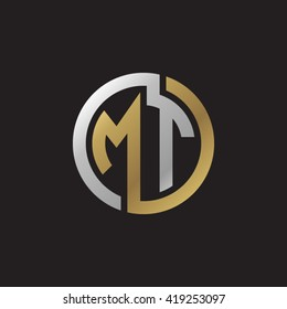 MT initial letters looping linked circle elegant logo golden silver black background