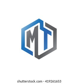 MT initial letters looping linked hexagon logo black gray blue
