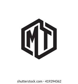 MT initial letters looping linked hexagon monogram logo