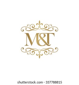 M&T Initial logo. Ornament ampersand monogram golden logo