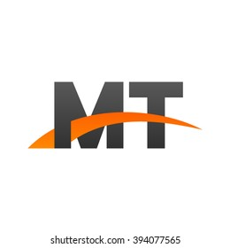 MT initial overlapping swoosh letter logo black orange