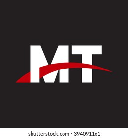 MT initial overlapping swoosh letter logo white red black background