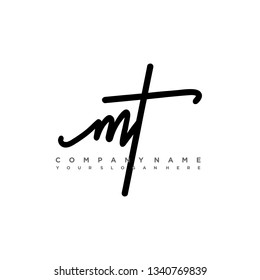 MT initial signature logo. handwriting logo template vector,