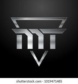 MT Logo, Metal Logo, Silver Logo, Monogram, Polygon