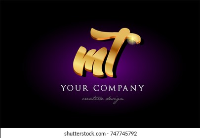 mt  m t alphabet combination letter logo in gold golden 3d metal beautiful typography suitable for banner brochure design