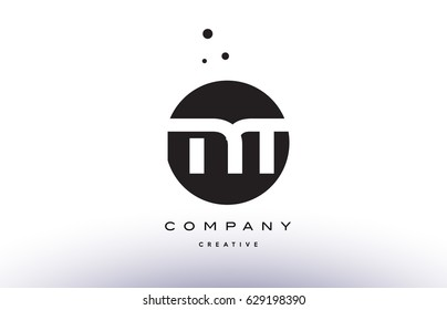 MT M T alphabet company letter logo design vector icon template simple black white circle dot dots creative abstract