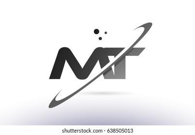 mt m t alphabet letter logo black white grey swoosh creative text dots company vector icon design template