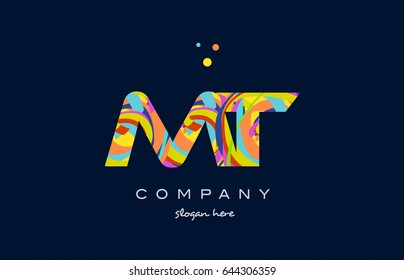 mt m t alphabet letter logo colors colorful rainbow acrylic font creative text dots company vector icon design template