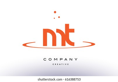 MT M T creative orange swoosh dots alphabet company letter logo design vector icon template