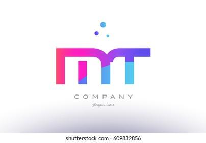 mt m t  creative pink purple blue modern dots creative alphabet gradient company letter logo design vector icon template