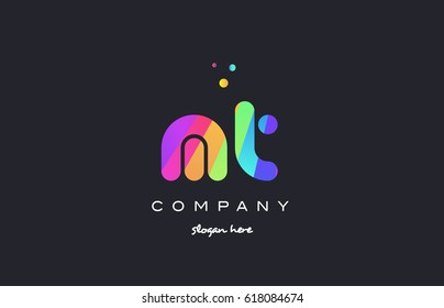mt m t  creative rainbow green orange blue purple magenta pink artistic alphabet company letter logo design vector icon template
