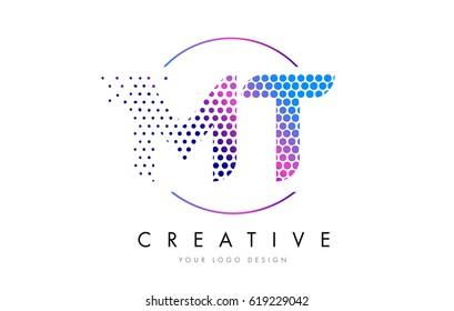MT M T Pink Magenta Dotted Bubble Letter Logo Design. Dots Lettering Vector Illustration