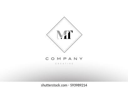 mt m t  retro vintage black white alphabet company letter logo line design vector icon template