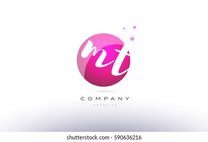 mt m t  sphere pink 3d alphabet company letter combination logo hand writting written design vector icon template