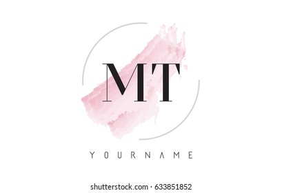 MT M T Watercolor Letter Logo Design with Circular Shape and Pastel Pink Brush.