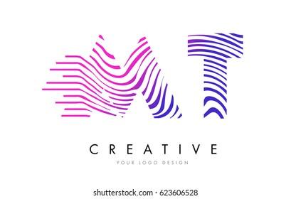 MT M T Zebra Letter Logo Design with Black and White Stripes Vector