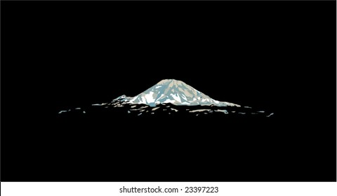 Mt. Rainier Mountain is a Vector Illustration over black copy space. Mt. Rainier is in Washington State and is seen from Seattle and various areas of the puget sound.