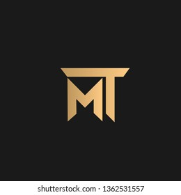 MT or TM logo vector. Initial letter logo, golden text on black background