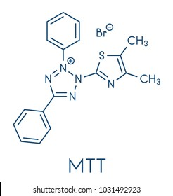 MTT yellow tetrazole dye molecule. Used in MTT assay, used to measure cytotoxicity and cell metabolic activity.  Skeletal formula.