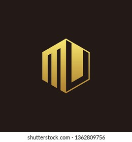 MU Logo Monogram with Negative space gold colors