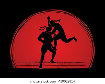 Muay Thai, Thai Boxing, action designed on sunset background graphic vector