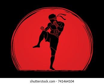 Muay Thai, Thai Boxing action graphic vector