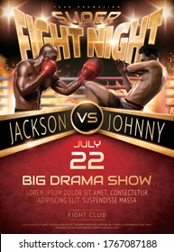 Muay Thai and Boxing fight show poster design with two handsome realistic 3d illustration men in front of boxing ring