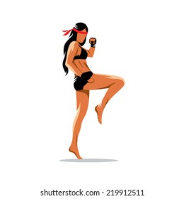 Muay Thai boxing sign. Thailand fighter woman kick knee. Asia Martial Arts concept. Kickboxing sport. Branding Identity Corporate vector logo design template Isolated on a white background